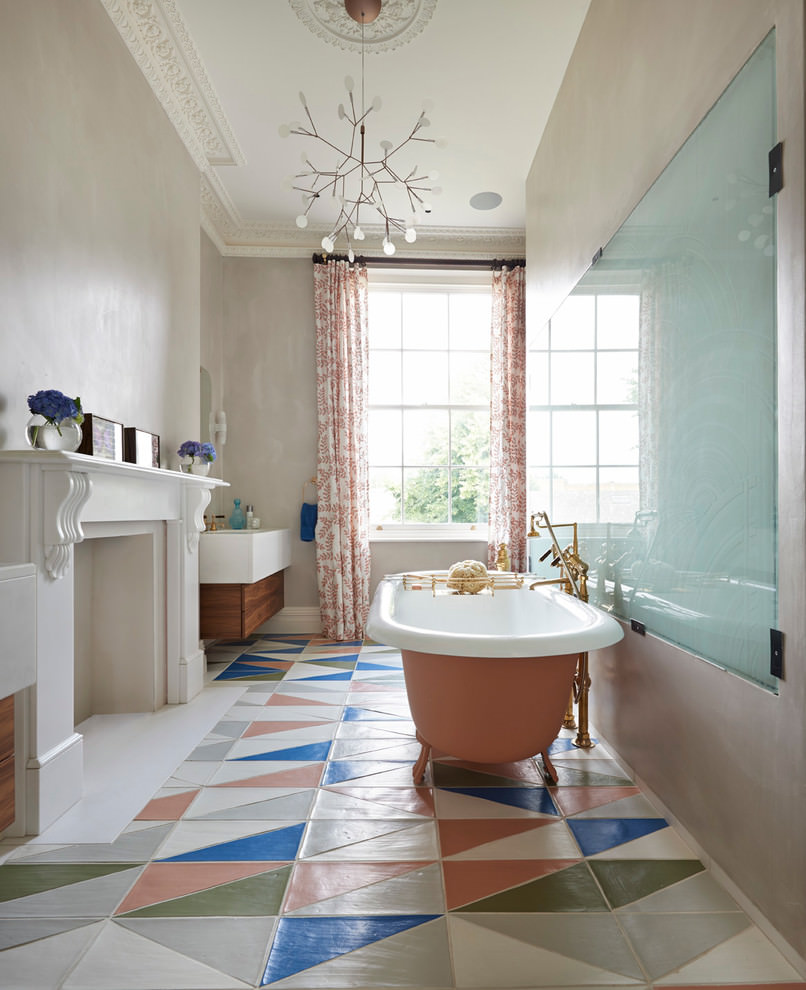 Colorful Tiles Bathroom Flooring Design