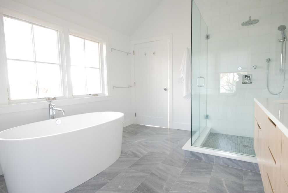 Gray Stone Bathroom Flooring Design