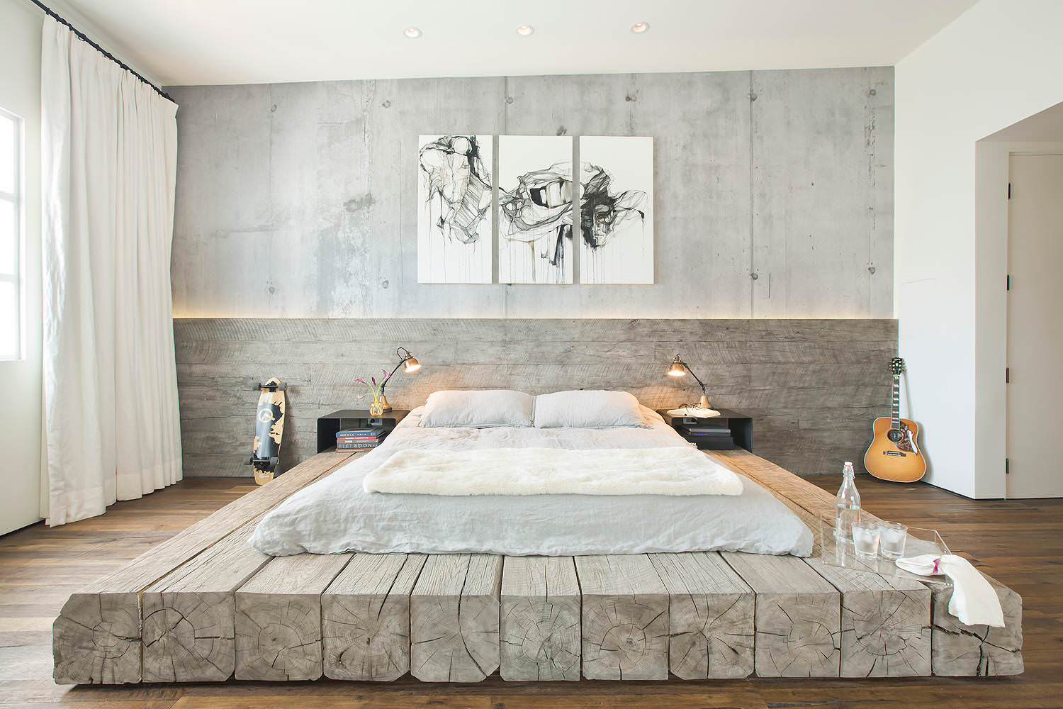 industrial bedroom with japanese style platform