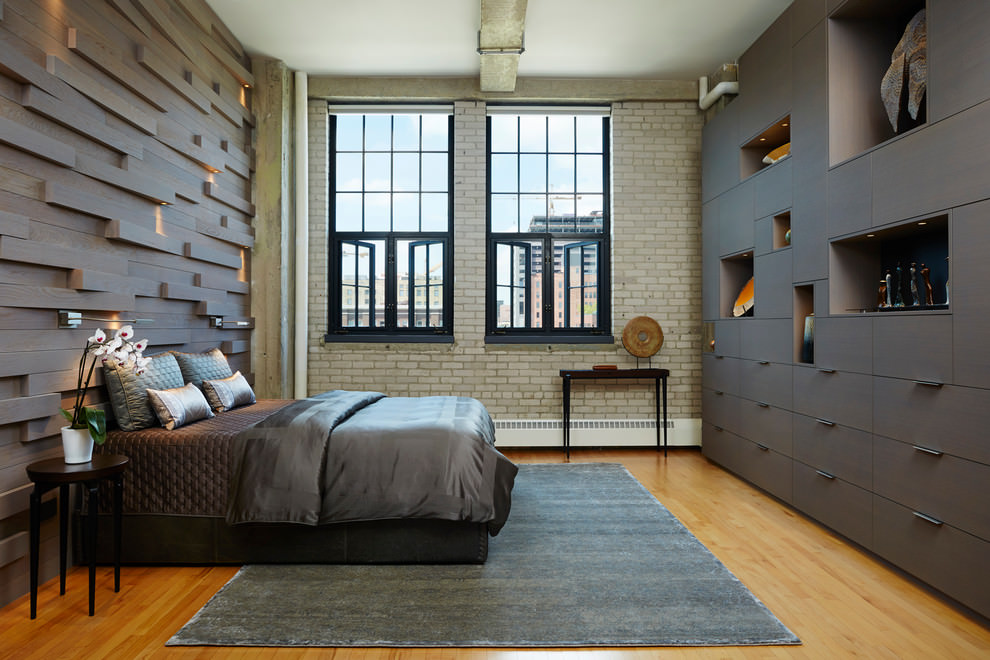 industrial master bedroom