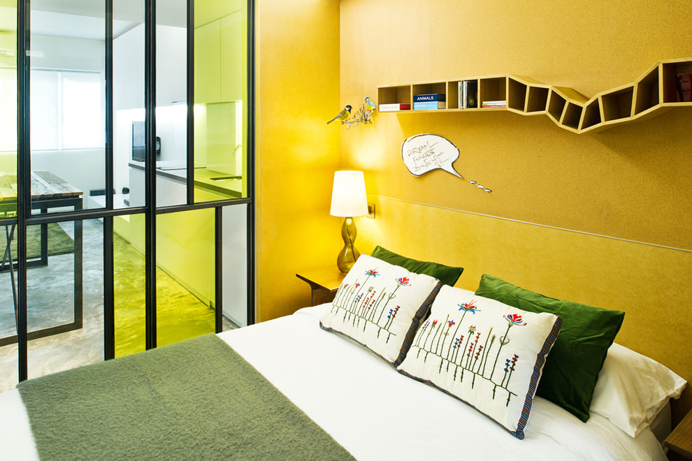 industrial bedroom yellow walls