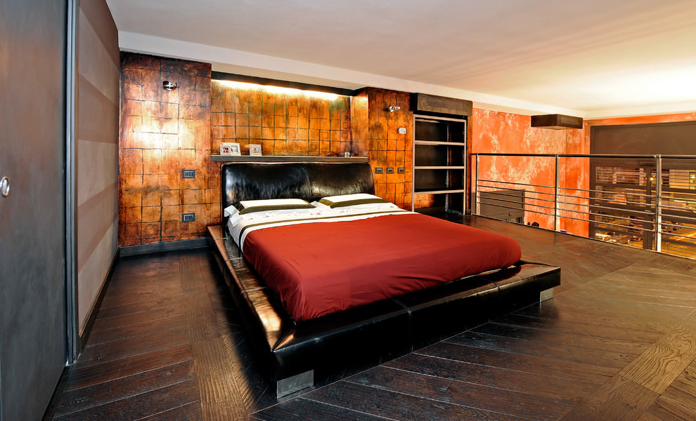 industrial style bedroom rust walls