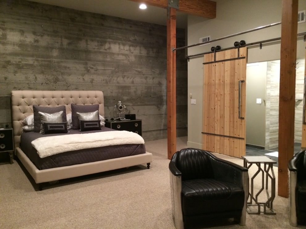 expansive industrial master bedroom