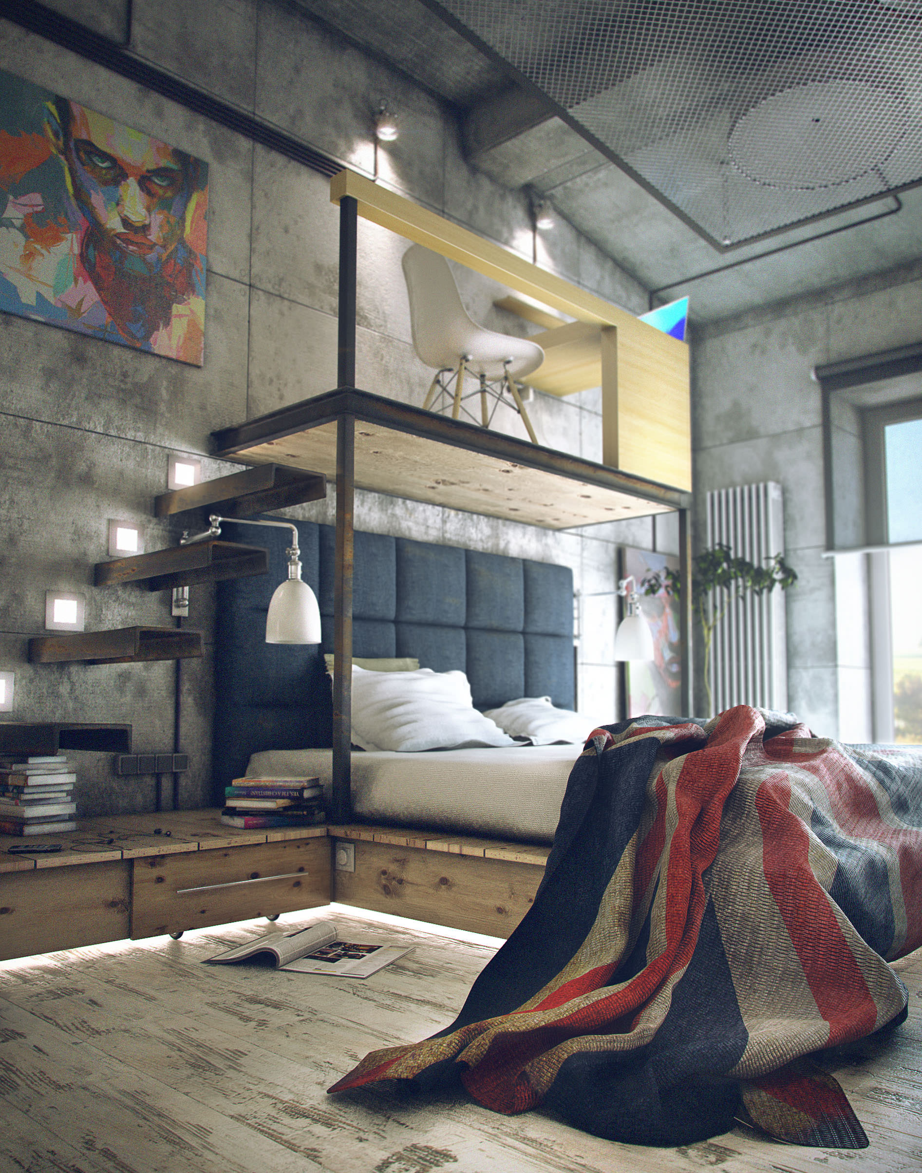 industrial bedroom with a loft