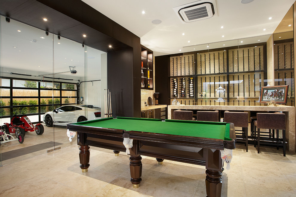 Game Room Design Ideas view in gallery lovely rail lighting in the game room turned garage Classic Game Room Design