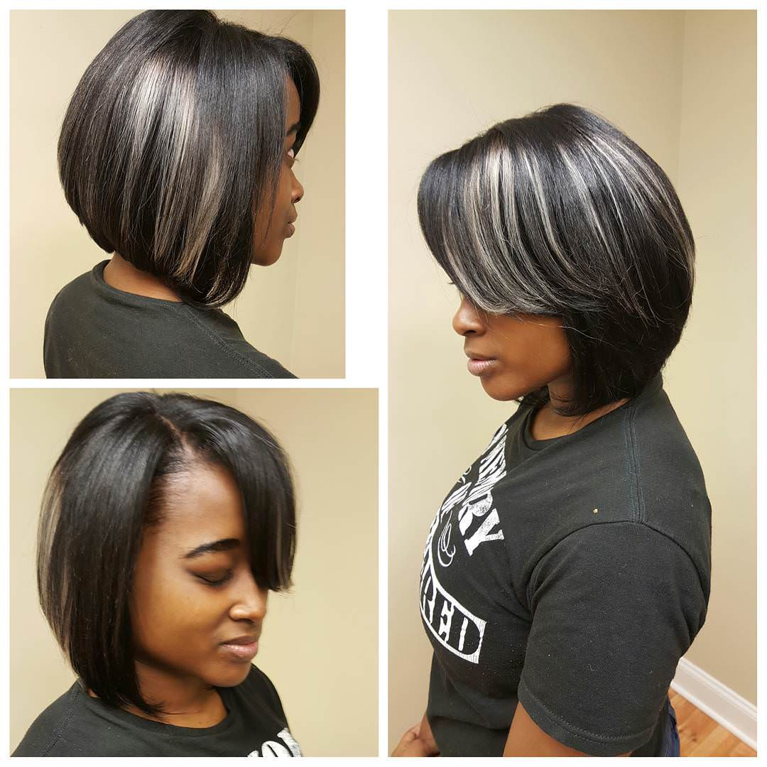 Grey Weave Bob Hairstyle For Black Women 06ae0b010