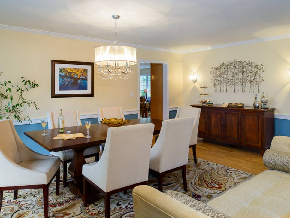 Transitional Dining Room with Open Layout