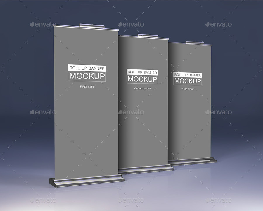 Set of Roll Up Banner Mockup