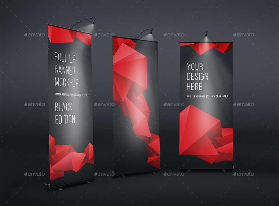 Roll Up Banner Colorful Mockup