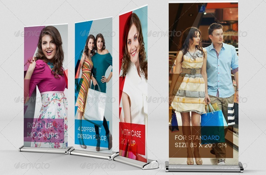 Realistic Banner Roll Up Mockup