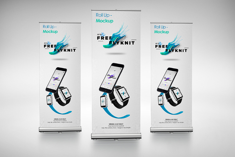 Blue Roll Up Banner Mockup