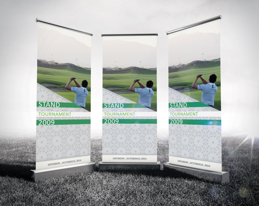 Single Roll Up Banner Mockup