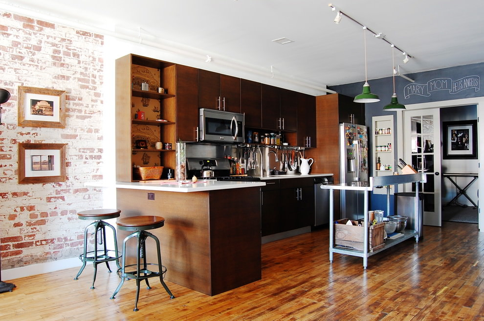 Brown L shaped industrial kitchen design