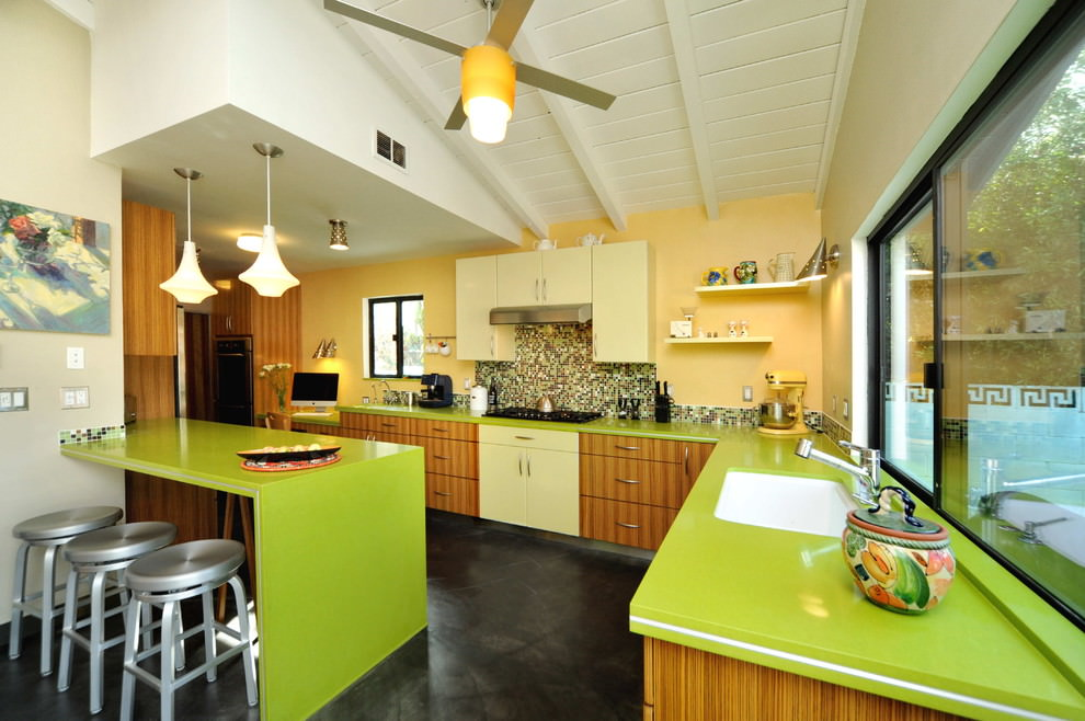 green l shaped kitchen design