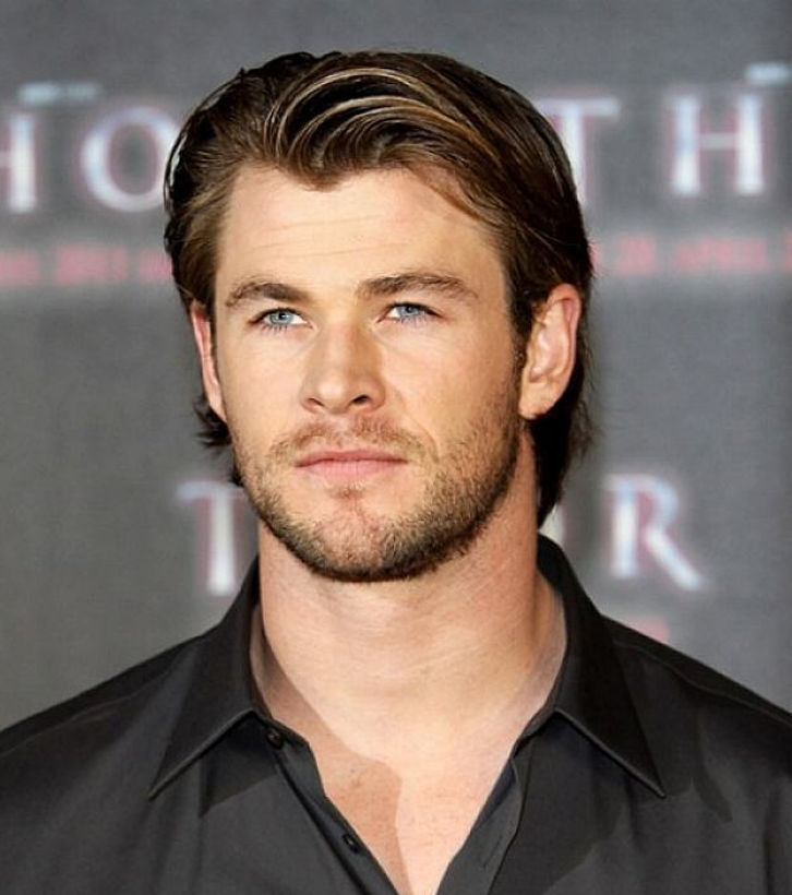 medium length haircut by chris hemsworth