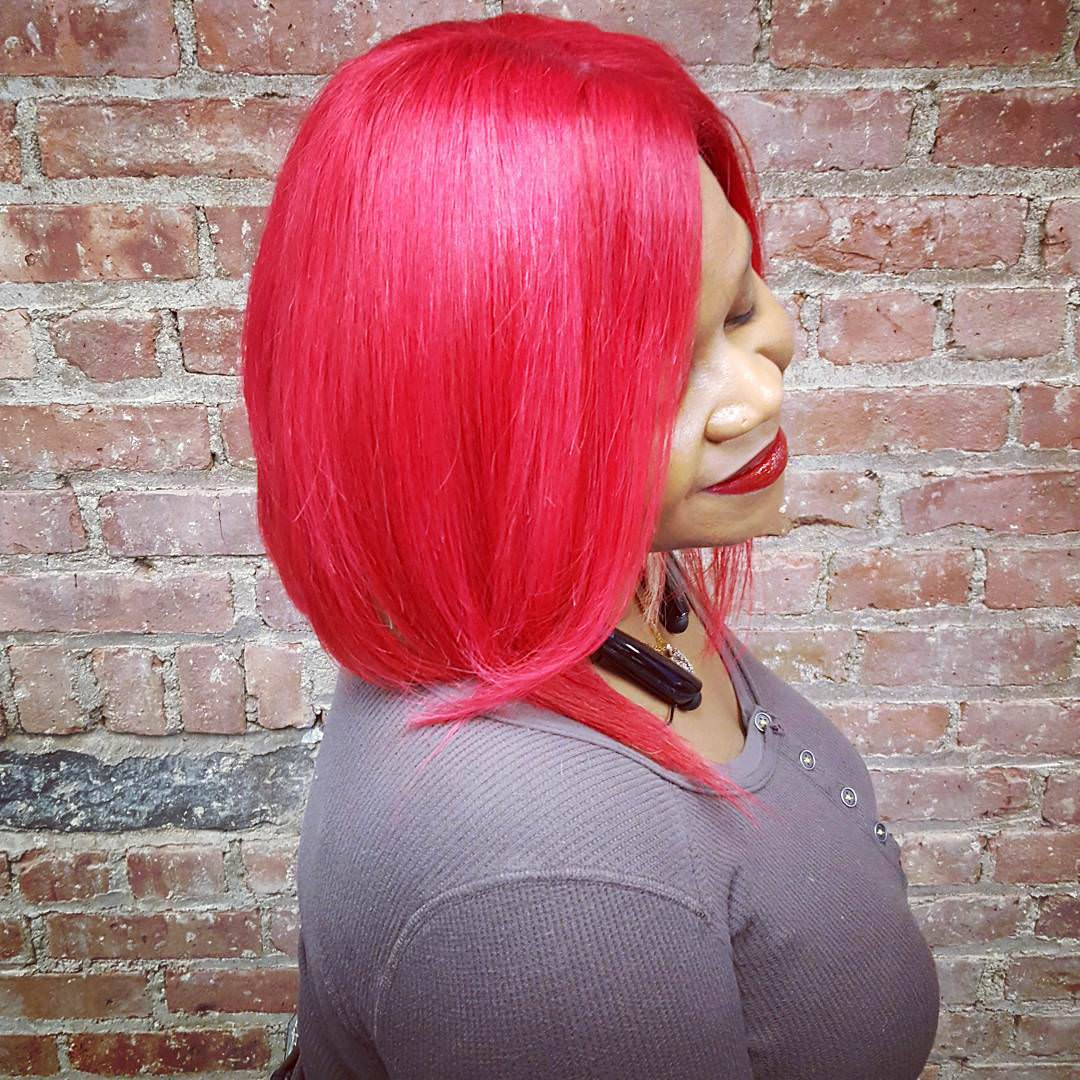 Red Shade Bob Weave Hairstyle