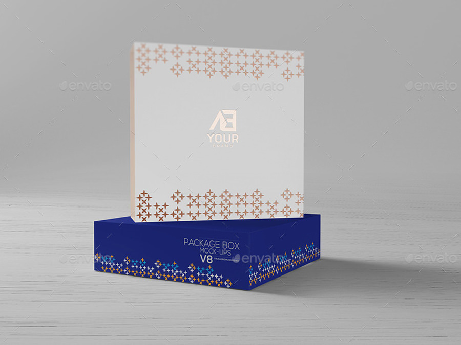 package box stamping logo mockup
