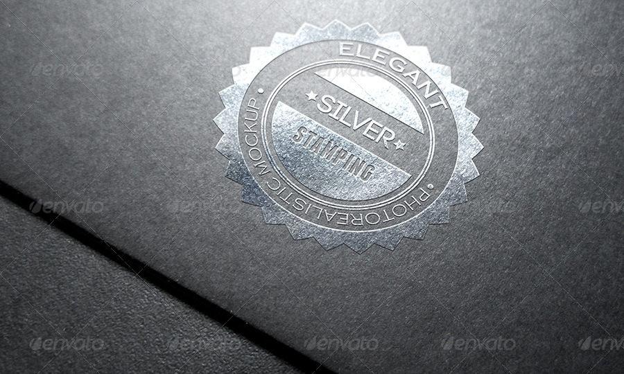 photorealistic stamping logo mockup