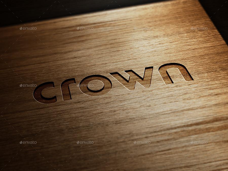 wooden stamping logo mockup