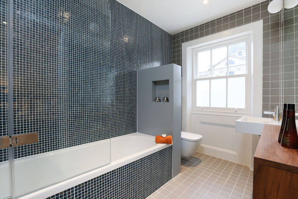 blue tiles contemporary bathroom