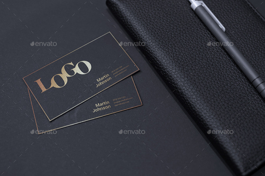 realistic business card logo mockup