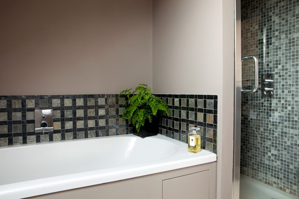 silver tiles contemporary bathroom