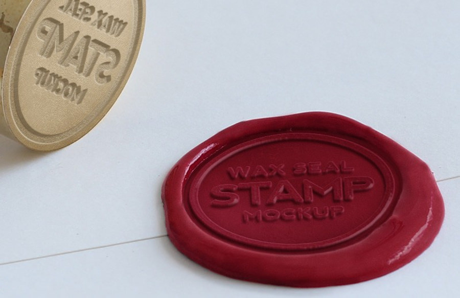 wax seal stamping mockup for logo