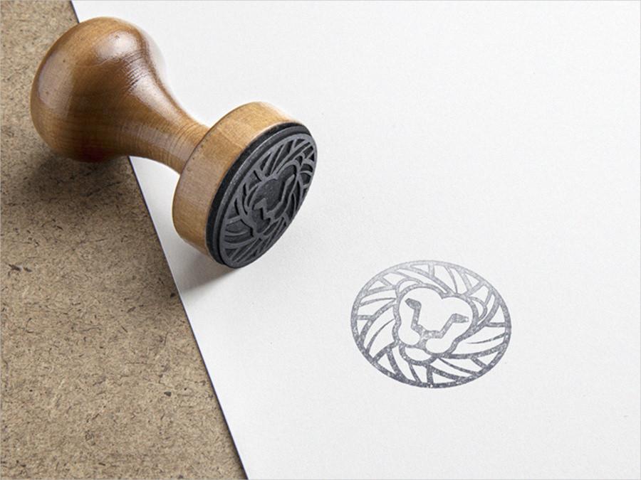 lion mark stamping mockup