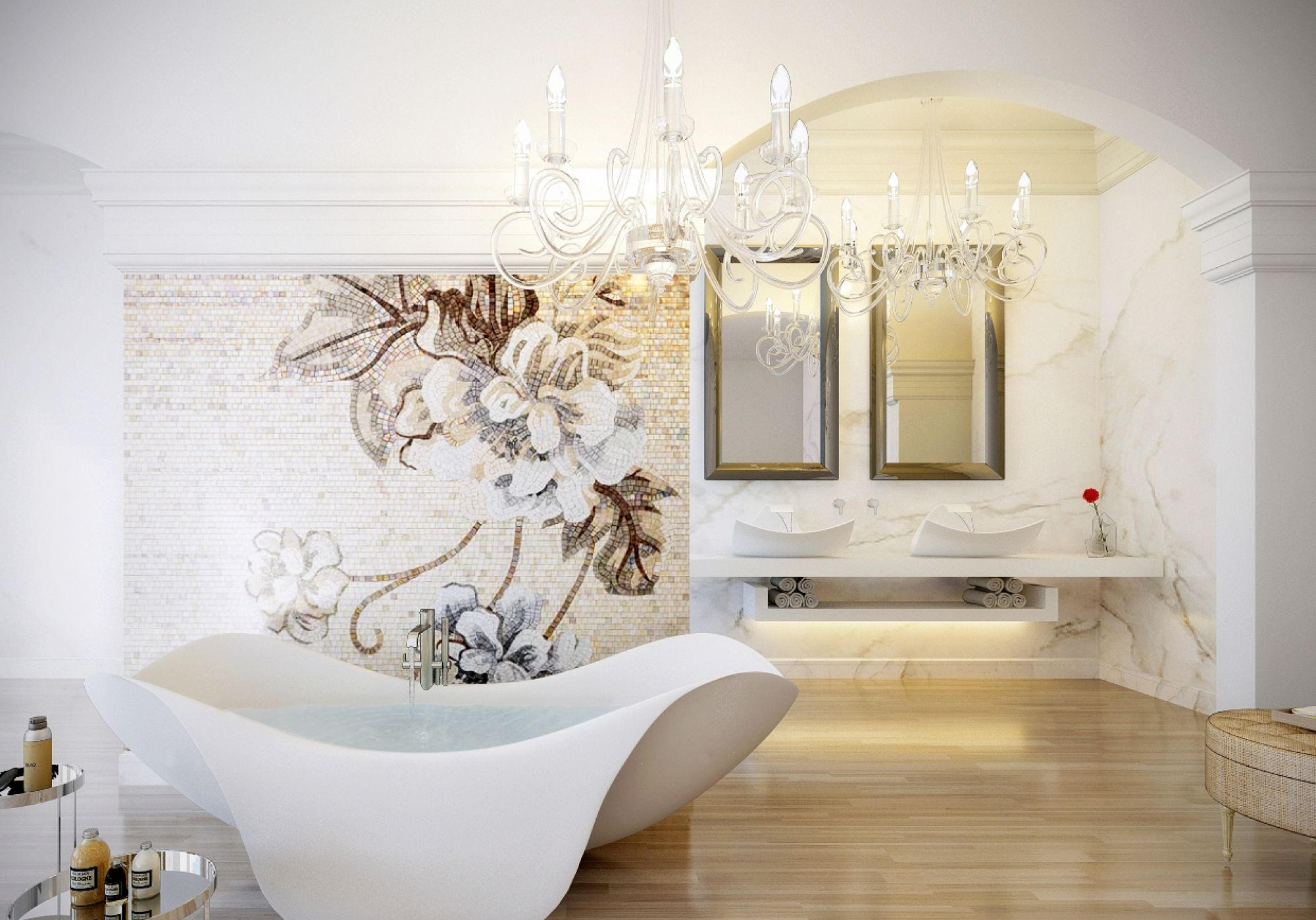 floral wall design contemporary bathroom