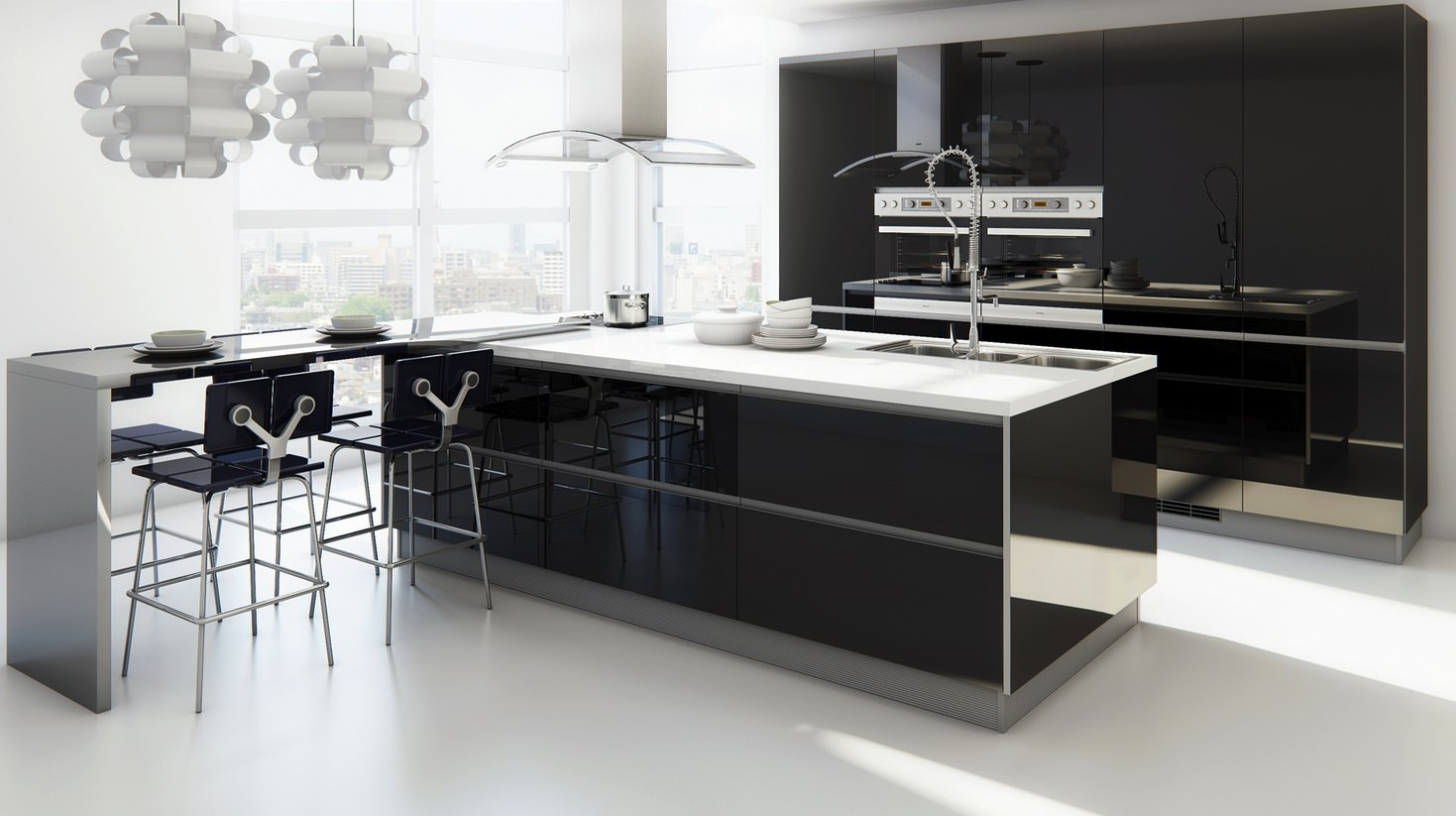 small island comtemporary kitchen design
