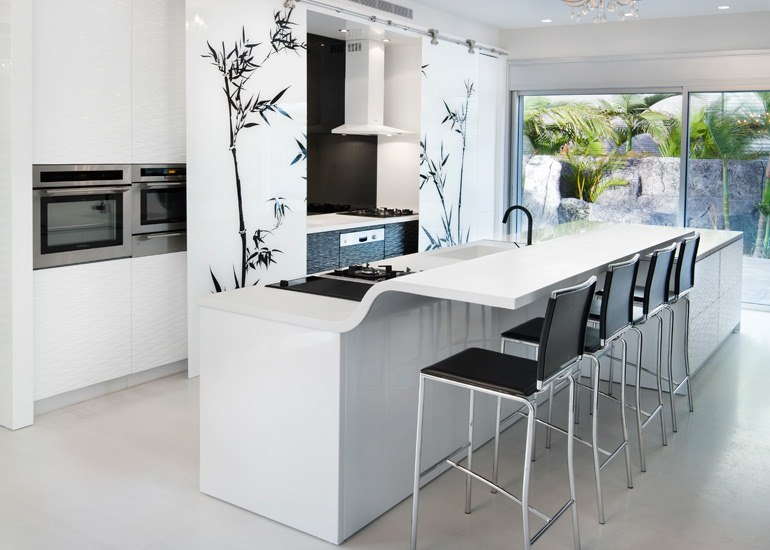 floral white contemporary kitchen