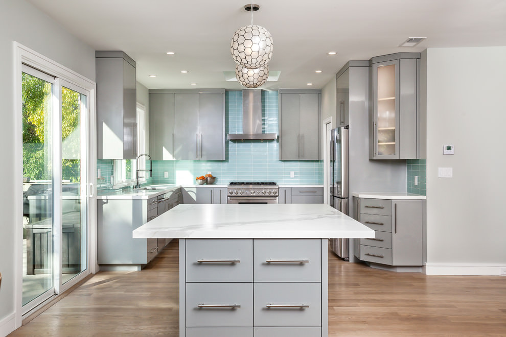Silver Cabinet Contemporary Kitchen