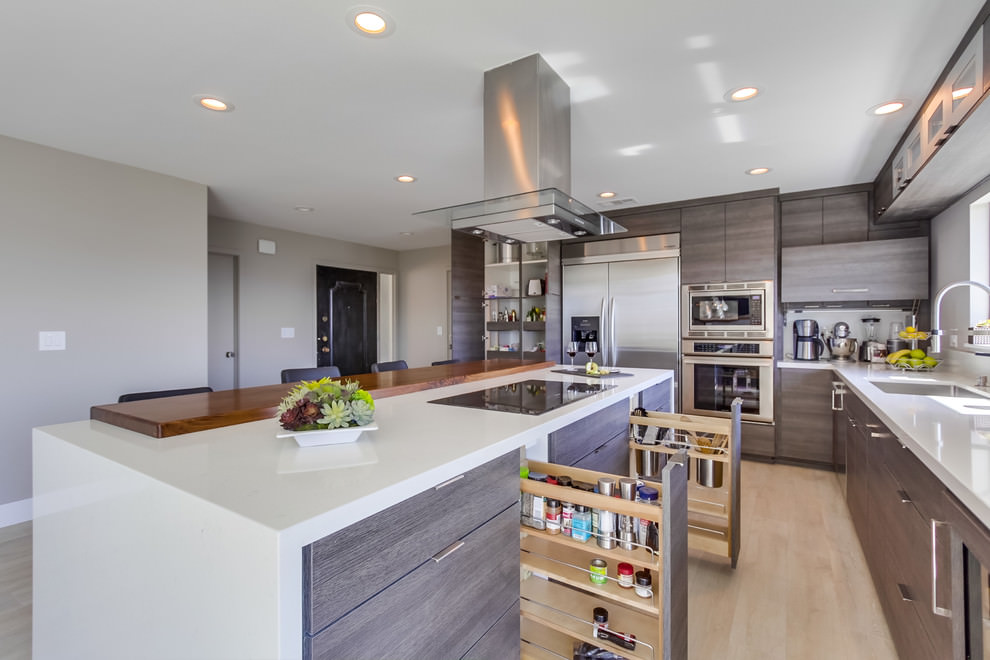 gray cabinet contemporary kitchen