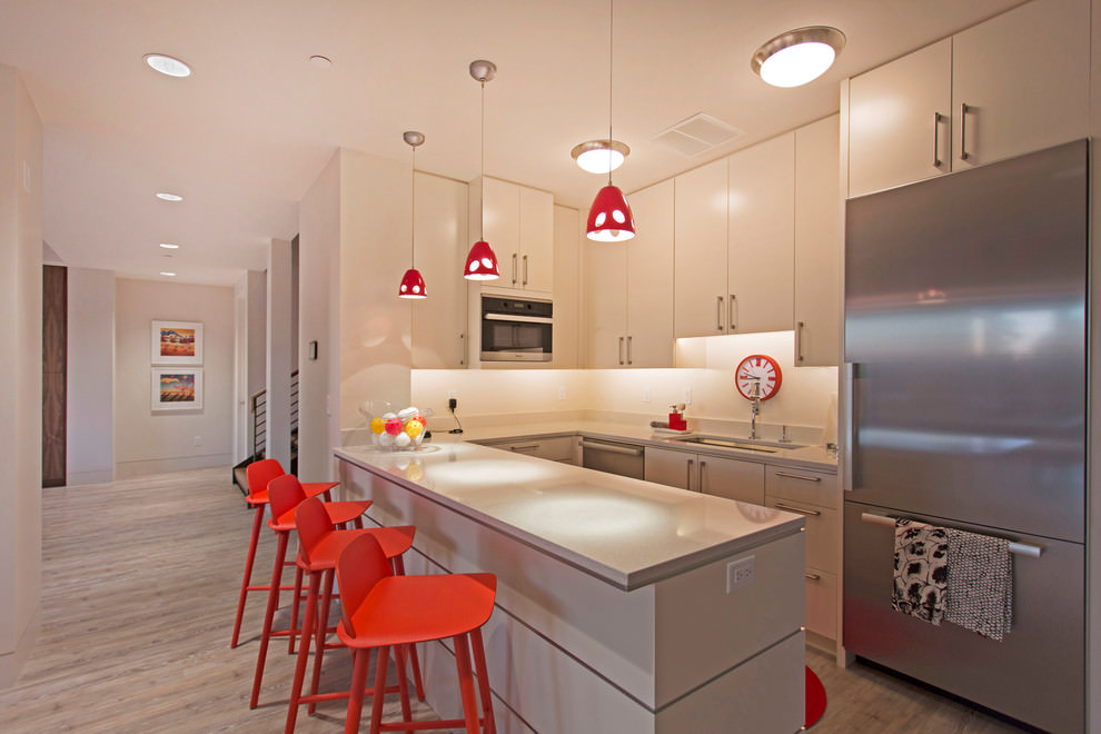 Red and White Contemporary Kitchen