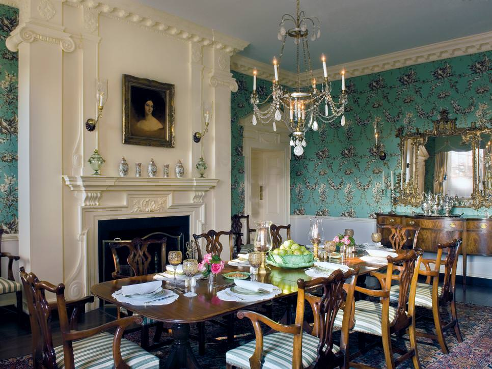 French Country Dining Room With Classic Wallpaper
