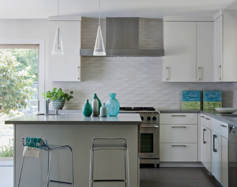 Flat White Kitchen Tile Design
