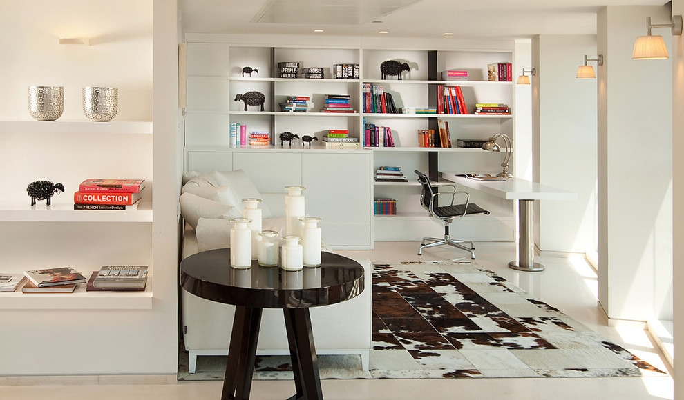 modern home office with white walls