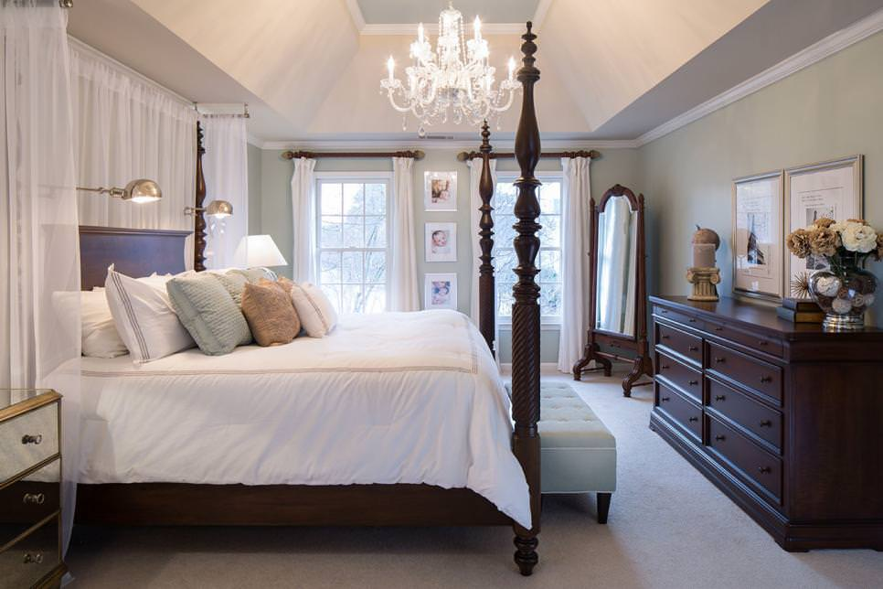 Transitional Bedroom With Chandelier