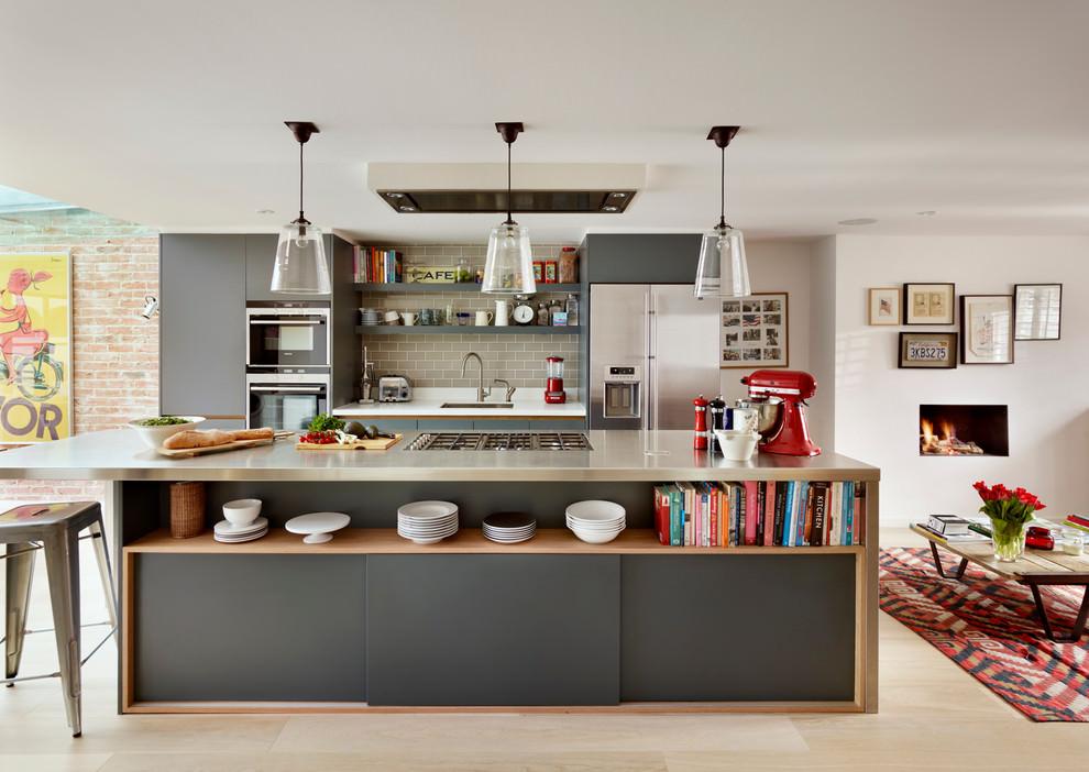 Gray Brick Kitchen Tile Design