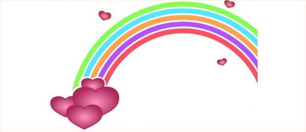 beaautiful hearts and rainbow clipart