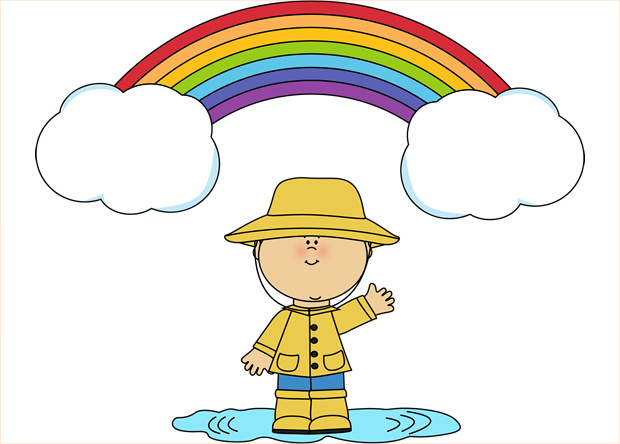 little boy and rainbow