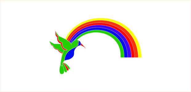 Bird with Rainbow
