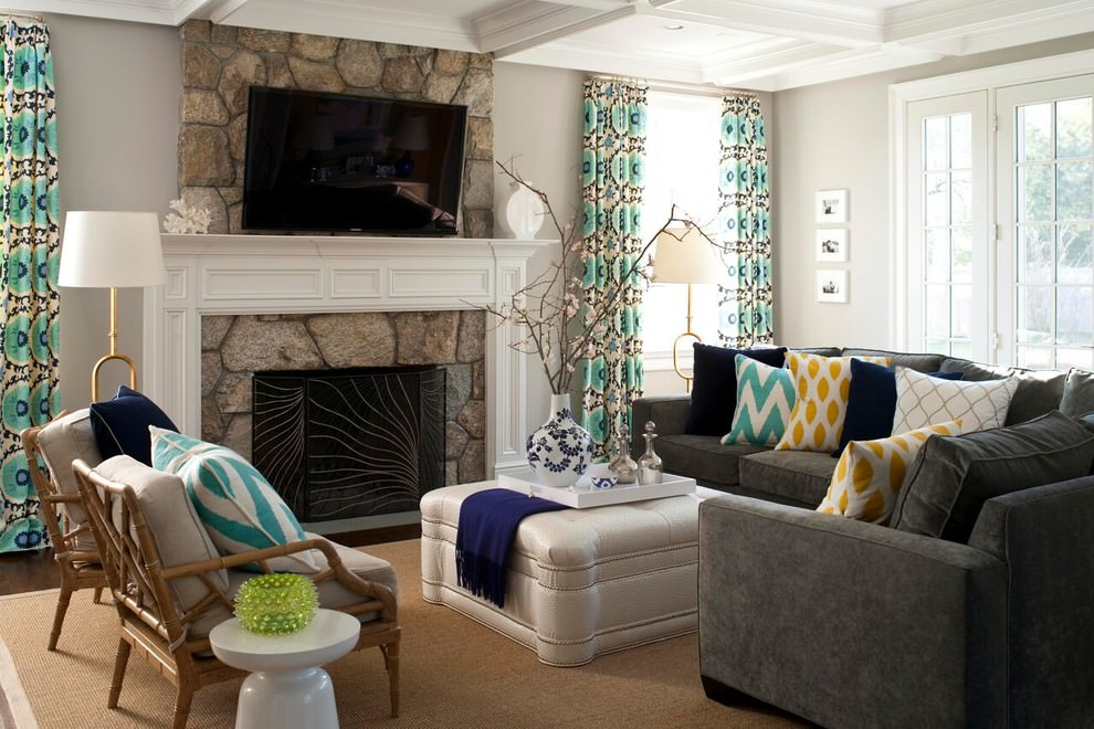 Gray sofa living room ideas modern house - Two sofa living room design ...