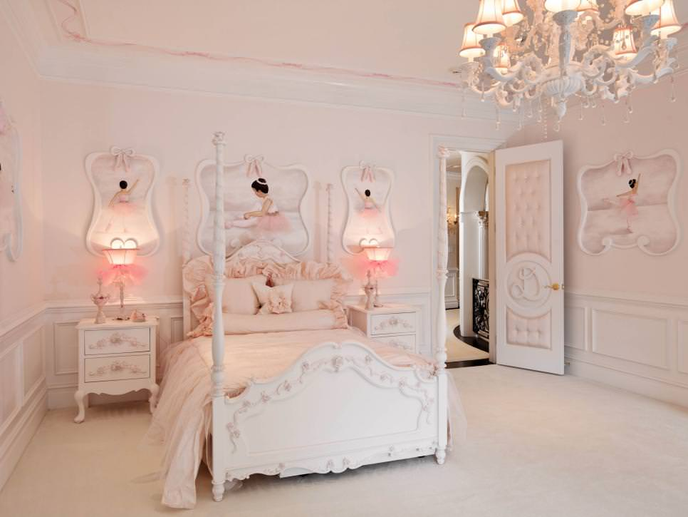 pink girls bedroom with light pink chandelier