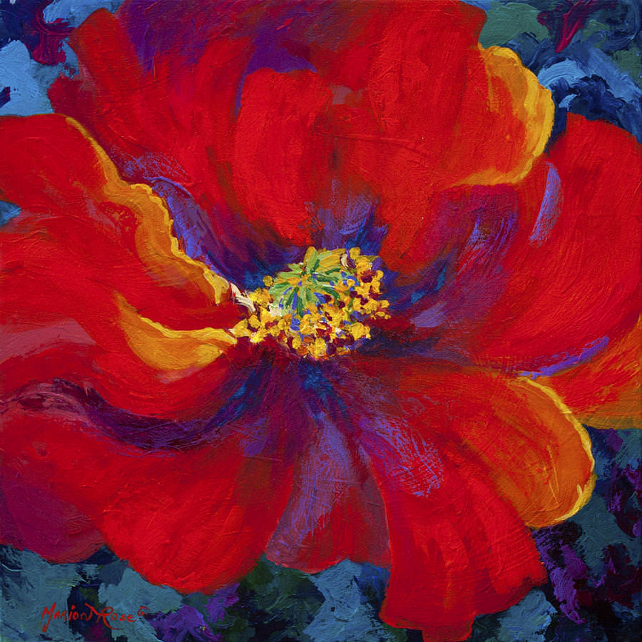 Red Poppy Abstract Painting