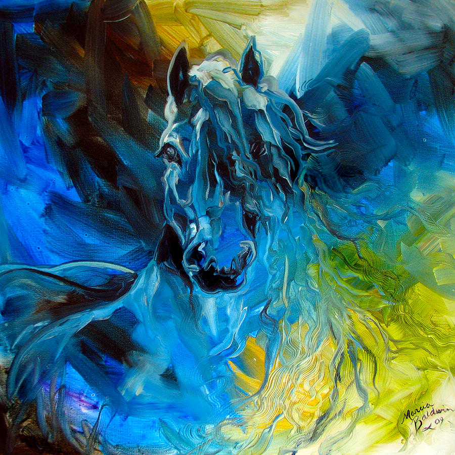 Equus Blue Ghost Painting of Abstract
