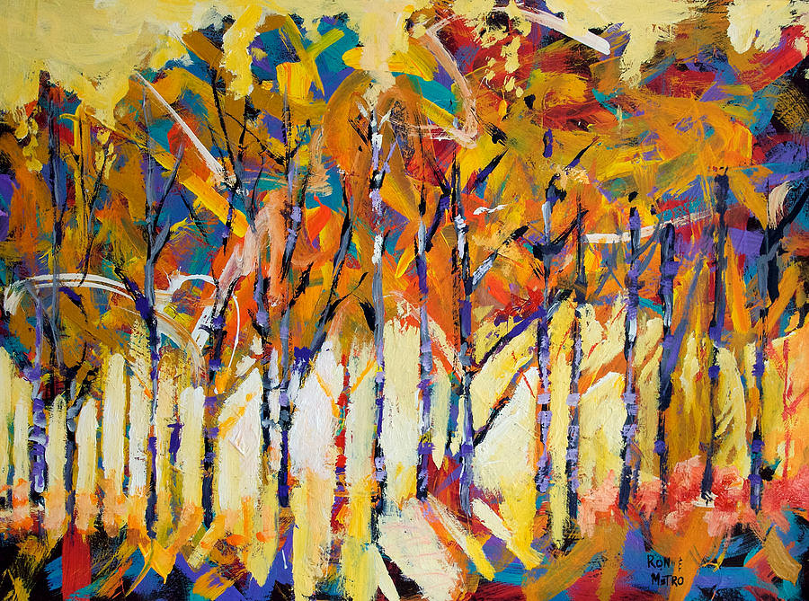 Aspen Trees Abstract Painting