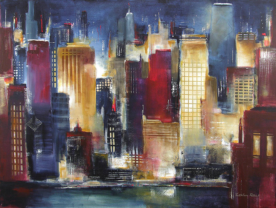City Night Abstract Painting