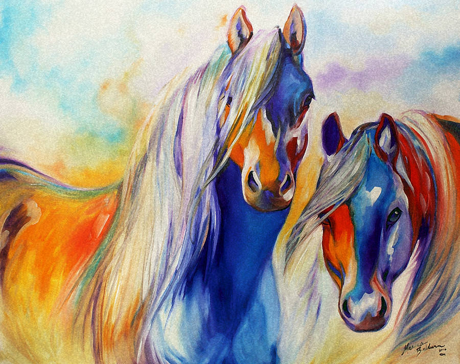 Sun and Shadow Equine abstract Painting