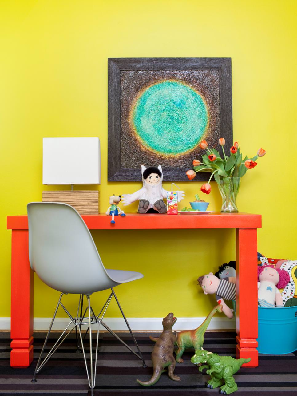bright yellow kids desk design